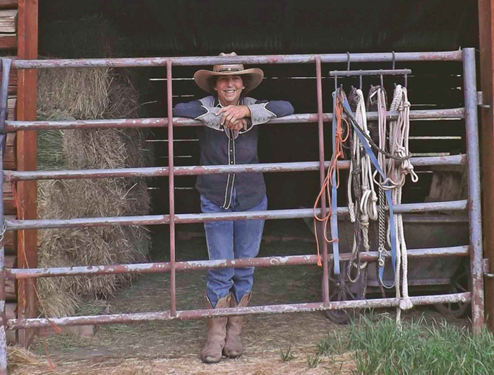 Alice Billings at her barn gate